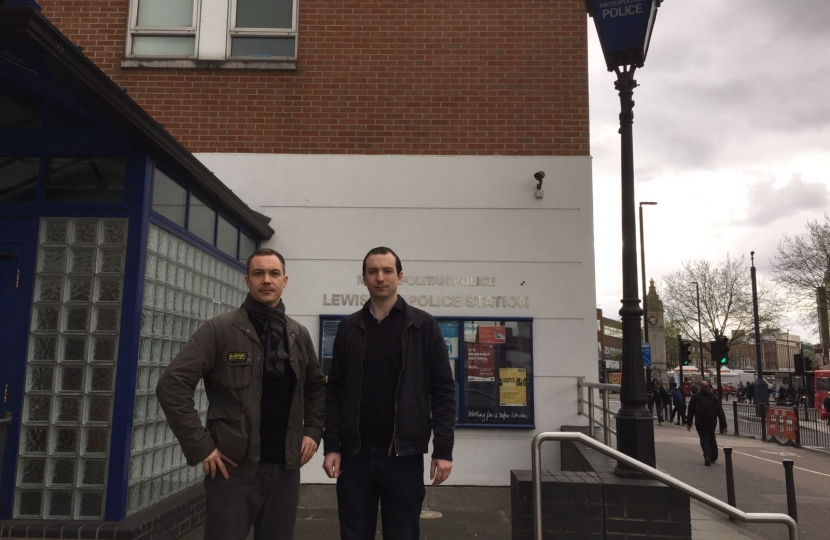 Ross and James outside Lewisham Police Station