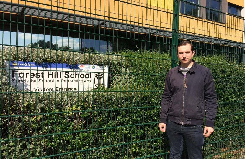 Ross outside a Lewisham Secondary School. Labour stopped a community debate on Lewisham Schools.