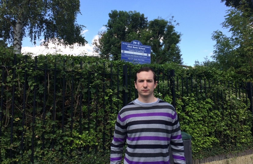 Ross Archer outside his old primary school, Elliot Bank in Forest Hill